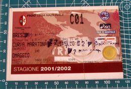 Calcio Biglietto Ticket TORINO Vs BRESCIA Curva Maratona Stadio Delle Alpi 09/09/2001- Ologramma - Tickets D'entrée