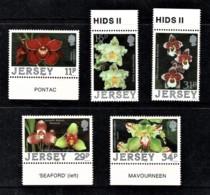 Jersey 1987 Orchids Marginal Set Of 5 Mint No Gum - Jersey