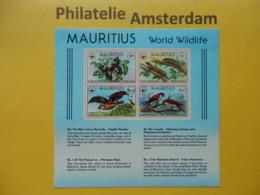 Mauritius 1978, WWF FAUNA ENDANGERED SPECIES: Mi 463-66, Bl. 8, ** - W.W.F.