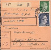 784+798 Freimarken 5+80 Pf Auf Paketkarte ZETEL 31.1.1944  - Germany
