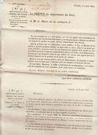2è Restauration, Gard, 1816 : Surveillance Des Militaires, Mariage Des Officiers (2 Scans) - Documenti Storici