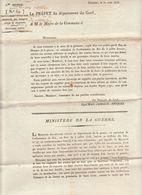 2è Restauration, Gard : Militaires Absents Et Enrolements Volontaires 1816 (2 Scans) - Documenti Storici