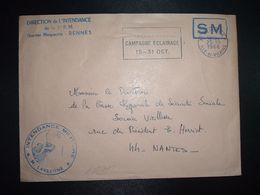 LETTRE OBL.MEC.25-10 1968 35 RENNES RP ILLE ET VILAINE DIRECTION DE L'INTENDANCE De La 3e R.M.+INTENDANCE N. LAVERGNE - Postmark Collection (Covers)