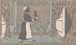CHROMO  AUX DEUX PASSAGES NOUVEAUTES LYON  LE CHOCOLAT ET LES BOTTINES DE MADAME ! - Trade Cards