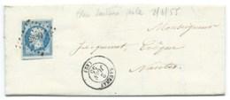 N° 14 BLEU NAPOLEON SUR LETTRE / SAVENAY POUR NANTES / 2 JUIN 1855 / PC 2839 IND 4 - 1849-1876: Classic Period