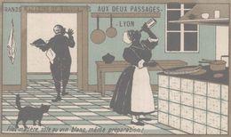 CHROMO  AUX DEUX PASSAGES NOUVEAUTES LYON  FILET MADERE  SOLE AU VIN BLANC MEME PREPARATION - Trade Cards