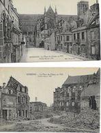 02 SOISSONS Lot  2 CPA Ruines Guerre 1914 1918 CPA  Non écrites Bon état - Soissons