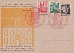 E 286) All Bes Rheinland-Pfalz 4,5,8 Roter SSt Trier 5.5.1947: Geburtshaus Karl MARX - Karl Marx