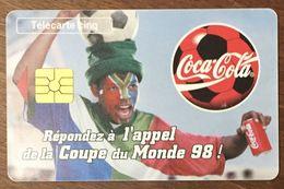 COCA COLA FRANCE 98 FOOTBALL TÉLÉCARTE 5 UNITÉS RÉFÉRENCE PHONECOTE Gn437 PHONECARD PHONE CARD - Alimentación