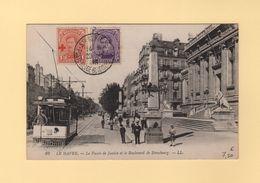 Poste Belge - Saint Adresse - 28-10-1918 - Sur Timbres Belges Et Carte Postale Du Havre (non Voyagee) - Guerra De 1914-18