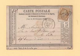 St Omer - 61 - Pas De Calais - GC 3785 - 23 Janvier 1873 - Debut D'utilisation De La Carte Precurseur - 1849-1876: Periodo Classico