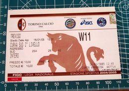 Calcio Biglietto Ticket TORINO Vs TREVISO Curva Sud Stadio Delle Alpi 16/01/2005 - Tickets D'entrée