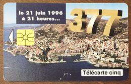 MONACO 377 CHANGEMENT DE NUMÉROTATION TÉLÉCARTE 5 UNITÉS RÉFÉRENCE PHONECOTE MG1 PHONECARD PHONE CARD - Monaco