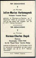 Verkempynck, Duyck. Montigny Sur Sambre - Oostende. Z.417 Denise - Germaine. Zeeramp - Visser - Vergaan - Devotieprenten