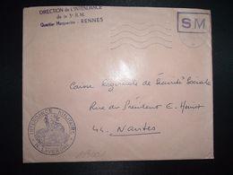 LETTRE OBL.MEC.2-6 1969 POSTE AUX ARMEES DIRECTION DE L'INTENDANCE De La 3e R.M. RENNES (35) INTENDANCE N. LAVERGNE - Postmark Collection (Covers)