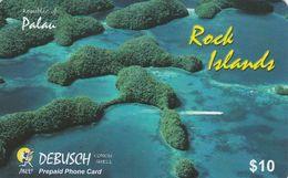 Palau, PW-PNC-0011, $10, Debusch Prepaid Phone Card, Rock Islands, 2 Scans. - Palau