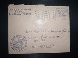 LETTRE OBL.MEC.17-12 1969 POSTE AUX ARMEES DIRECTION DE L'INTENDANCE De La 3e R.M. RENNES (35) INTENDANCE N. LAVERGNE - Postmark Collection (Covers)