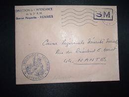 LETTRE OBL.MEC.21-1 1970 POSTE AUX ARMEES DIRECTION DE L'INTENDANCE De La 3e R.M. RENNES (35) INTENDANCE N. LAVERGNE - Postmark Collection (Covers)