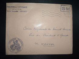 LETTRE OBL.MEC.5-2 1970 POSTE AUX ARMEES DIRECTION DE L'INTENDANCE De La 3e R.M. RENNES (35) INTENDANCE N. LAVERGNE - Postmark Collection (Covers)