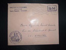 LETTRE OBL.MEC.17-2 1970 POSTE AUX ARMEES DIRECTION DE L'INTENDANCE De La 3e R.M. RENNES (35) INTENDANCE N. LAVERGNE - Postmark Collection (Covers)