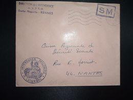 LETTRE OBL.MEC.24-2 1970 POSTE AUX ARMEES DIRECTION DE L'INTENDANCE De La 3e R.M. RENNES (35) INTENDANCE N. LAVERGNE - Postmark Collection (Covers)