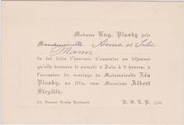 Invitation à L'Occasion Du Mariage: Lea Plasky En Albert Sieglitz 1910 Schaerbeek - Boda
