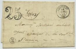 """Taxe 25 + Type 15 Lavoncourt + Boîte Rurale """"R"""" Villers-Vaudey / LàC 1854 Pour Gray . Architecte à L'Union Assurances . - Lettres Taxées"""