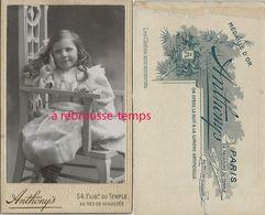 CDV Fillette Souriante-photo Anthony's Faubourg Du Temple à Paris - Anciennes (Av. 1900)