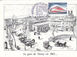 Cachet Modernisation De La Gare De Nancy Sur Carte à Voir , 1975 , 2 Scans - Marcophilie (Lettres)