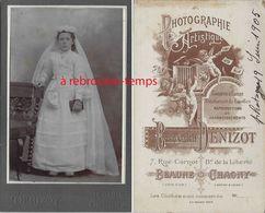 CDV Communiante- Photo Denizot à Beaune Chauny - Anciennes (Av. 1900)