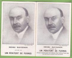 """Double CPA Ecrivain HENRI DAVIGNON Auteur De """" Un Pénitent De Furnes """" Publicité Librairie Plon - Scrittori"""
