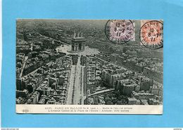 PARIS EN BALLON-Place étoile- à 200m Altitude-voyagé En1911- 2 Timbres Type Blanc-édition ELD - Places, Squares