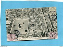 PARIS EN BALLON-Place Vendome -ombre Du Ballon 400m Altitude-a Voyagé En1911 3timbres Type Blanc - Places, Squares