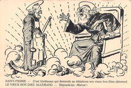 """Saint-Pierre: C'est Guillaume Qui Demande Au Téléphone Dieu """"réponds-lui """"Marne!"""" Guerre 1914-18 - Humor"""