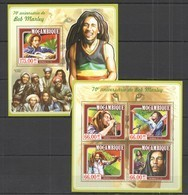 ST2353 2015 MOZAMBIQUE MOCAMBIQUE MUSIC FAMOUS PEOPLE 70TH ANNIVERSARY BOB MARLEY KB+BL MNH - Singers