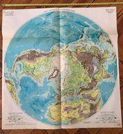 1950 CARTE COULEUR GRAND FORMAT PHYSIQUE HEMISPHERE NORD - Alte Papiere