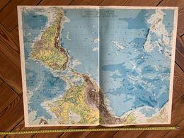 1950 CARTE COULEUR GRAND FORMAT PHYSIQUE NOUVEAU CONTINENT L AMERIQUE - Alte Papiere