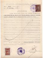 1939 YUGOSLAVIA,SERBIA,SOMBOR MUNICIPALITY GOVERNMENT CERTIFICATE,20 DIN. STATE  REVENUE STAMP, 2 DIN. CHURCH REVENUE - Storia Postale