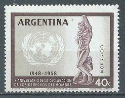 Argentine YT N°595 Déclaration Universelle Des Droits De L'homme Neuf ** - Argentine