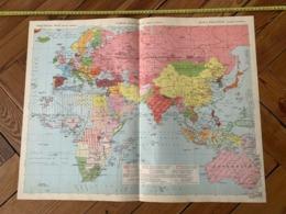 1950 CARTE COULEUR GRAND FORMAT POLITIQUE ANCIEN CONTINENT AFRIQUE EUROPE ASIE - Alte Papiere