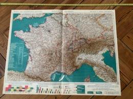 1950 CARTE COULEUR GRAND FORMAT FRANCE ET PAYS LIMITROPHES - Alte Papiere