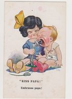 Carte Fantaisie Dessinée Signée Dudley Buxton/ Kiss Papa! Embrasse Papa! Bébé Hurlant - Künstlerkarten