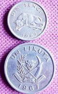 CONGO DEM/REP.: 10 SENGI + 1 LIKUTA  1967 KM 7 & 8 - Congo (Democratische Republiek 1964-70)