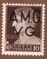 AMGVG005 AMG-VG 1945-47 SERIE IMPERIALE SOPRASTAMPATA CENT 10 SASSONE NR 1 *  MLH - Nuovi