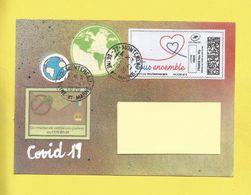 Lettre Avec Montimbrenligne TOUS ENSEMBLE  Lettre Verte + Vignette COVID19  De Montereau + Globe Terrestre Le 22 04 2020 - Poststempel (Briefe)