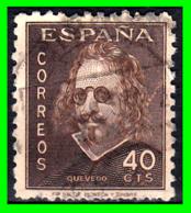 SELLO AÑO 1945. 40 CÉNTIMOS. III CENTENARIO. MUERTE QUEVEDO - 1931-Aujourd'hui: II. République - ....Juan Carlos I
