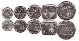 Aruba - Set 5 Coins 5 10 25 50 Cent 1 Florin 2006 - 2011 UNC Lemberg-Zp - [ 4] Colonies
