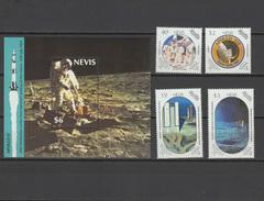 Nevis 1989 Space Apollo 20th Anniversary Moon Landing Set Of 4 + S/s MNH - Raumfahrt