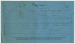 Télégramme 1881 Modèle 324 (décembre 1879) De Limeray Pour Saint-Calais . Cachet Bleu Ondulé . - Telegramas Y Teléfonos