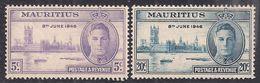 Mauritius 1946 KGV1 Set Of Victory Umm SG 264 – 265 ( D328 ) - Mauritius (1968-...)